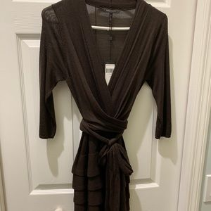 BCBG MAxAZRIA Brown wool wrap dress size medium